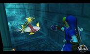 Link apuntando a un Moluscuchilla OoT