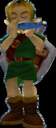 Link tocando la Ocarina del Tiempo MM