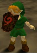 Link usando el Escudo Deku OoT