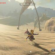 Link surferando en la arena BOTW