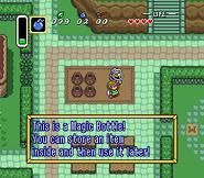 Link comprando la botella mágica al vendedor ambulante ALttP