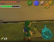 Link plantando una judía mágica OoT