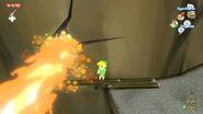 Link pasando frente a un géiser de fuego.