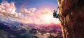 Artwork Link escalando una montaña BotW