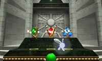 Link colocando las Piedras Espirituales