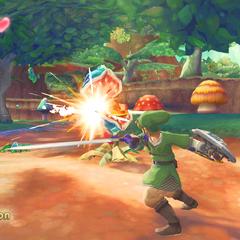 Link attacca una Deku Baba con la bocca orizzontale