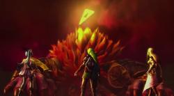 Link, Zelda y Lana ante Ganon derrotado HW
