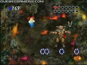Zelda contra un jefe de Zelda's adventure