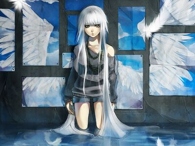 White-hair-anime-girl-feathers-green-eyes-girls-hd-199866
