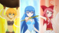 The girls prepare to fight