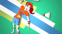Sporty Shorty playing batminton