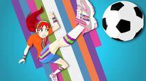 Sporty Shorty kick the soccer ball