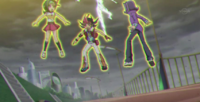 Yuma, Tori and Shark getting pulled by Number 96