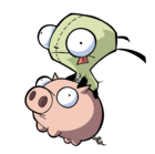 GIR riding Piggy