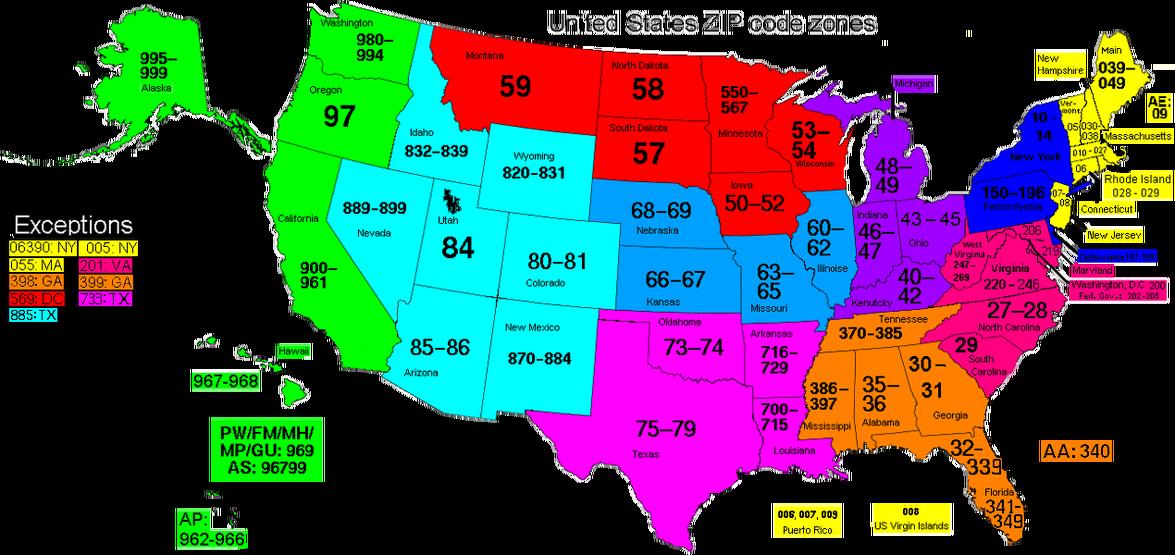 US ZIP Code zones