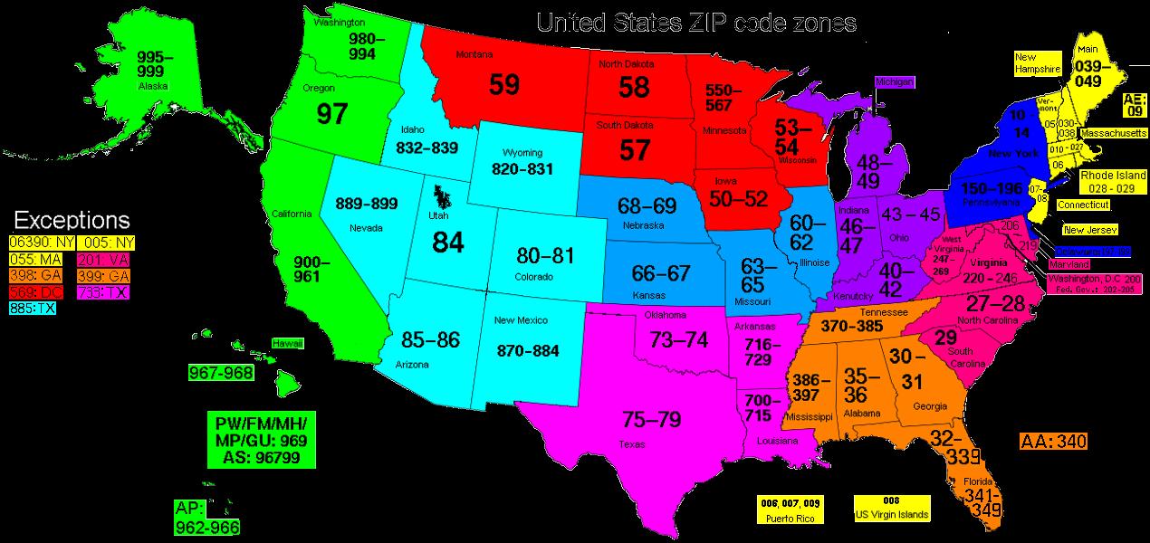 Free ZIP Code Map Zip Code Lookup And Zip Code List US Zip Code - Us map with zip codes