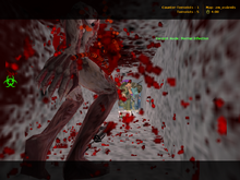 Multiple players enaging with the first zombie eventually stopping an infection