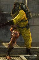 Зомби в костюме биологической защиты Dead Island