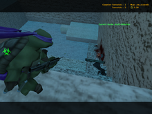 A player shooting a classic zombie