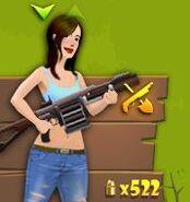 Mujer con grenade launcher