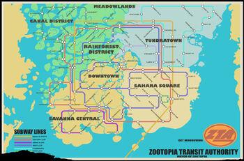 Zootopia Transit Authority Subway Map.Zootopia Transit Authority Zootopia Wiki Fandom Powered By Wikia