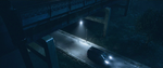 Car Driving Under Bridge