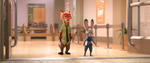Judy and Nick walking out of the DMV