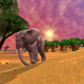 In-game photograph of a female in a safari type exhibit in Zoo Tycoon 2.