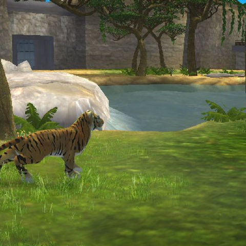 Pre-release screenshot of an early build of <i>Zoo Tycoon 2</i>.