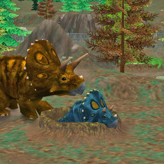 Prior to the release of <i>Extinct Animals</i>, baby <i>Triceratops</i> was a shade of blue.